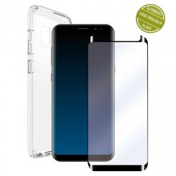 muvit pack Samsung Galaxy S9 funda Cristal Soft transparente + protector pantalla vidrio templado curvo marco negro