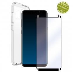 muvit pack Samsung Galaxy S9 Plus funda Cristal Soft transp + protector pantalla vidrio templado curvo marco negro