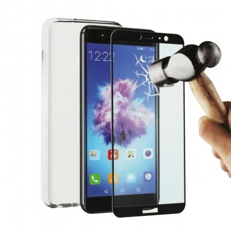 muvit pack Huawei P Smart funda Cristal Soft transparente + protector pantalla vidrio templado plano
