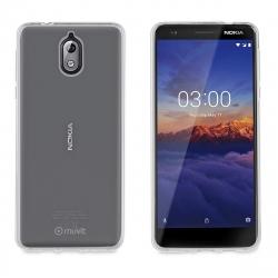 muvit pack Nokia 3,1 funda Cristal Soft transparente + protector pantalla vidrio templado plano marco negro
