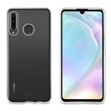 muvit pack Huawei P30 Lite funda Cristal Soft transparente + protector pantalla vidrio templado plano marco negro