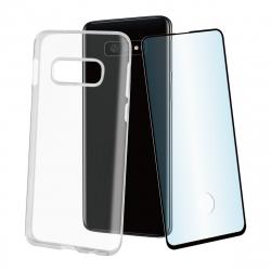 muvit pack Samsung Galaxy S10e funda Cristal Soft transparente + protector pantalla vidrio templado plano marco negro