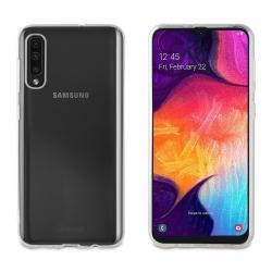 muvit pack Samsung Galaxy A50 funda Cristal Soft Lite transparente+protector pantalla vidrio templado plano marco negro