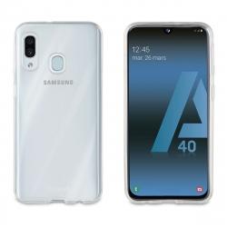 muvit pack Samsung Galaxy A40 funda Cristal Soft transparente + protector pantalla vidrio templado plano marco negro