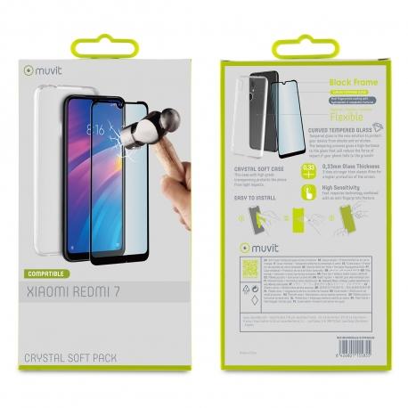 muvit pack Xiaomi Redmi 7 funda Cristal Soft transparente + protector pantalla vidrio templado plano marco negro