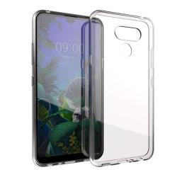 muvit pack Lg K50 funda Cristal Soft transparente + protector de pantalla vidrio templado plano