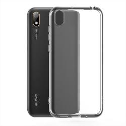 muvit pack Huawei Y5 2019 funda Cristal Soft transparente + protector pantalla vidrio templado plano marco negro