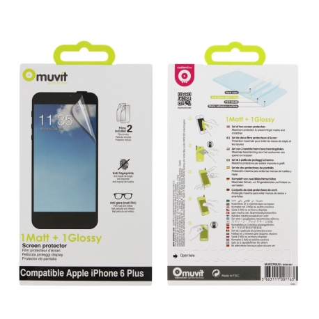 muvit protector pantalla flexible Apple iPhone 6 Plus (1 unid mate + 1 unid brillo)