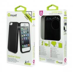 muvit pack Apple iPhone SE/5S/5 funda Cristal Soft negra + protector pantalla flexible