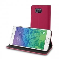 muvit funda Wallet Folio Samsung Galaxy Alpha función soporte + tarjetero negra/rosa