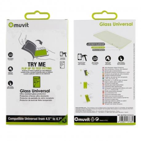 "muvit protector pantalla vidrio templado universal 4.7"" plano"