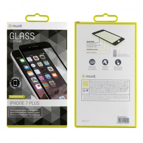 muvit protector pantalla Apple iPhone 7 Plus vidrio templado + nanofilm trasero marco negro