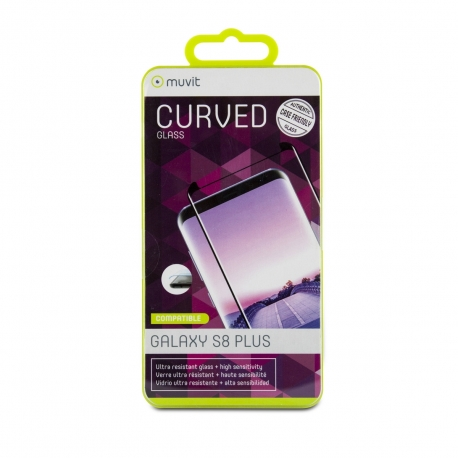 muvit protector pantalla Samsung Galaxy S8 Plus vidrio templado curvo case friendly marco negro