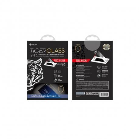 muvit Tiger Glass Samsung Galaxy S9 Plus vidrio templado curvo case friendly marco negro con aplicador