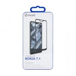 muvit protector pantalla Nokia 7.1 vidrio templado curvo case friendly marco negro