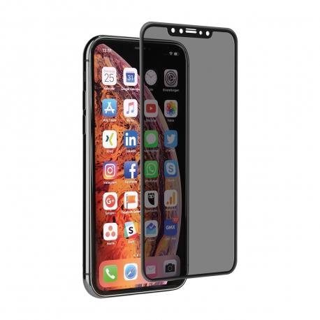 muvit protector pantalla Apple iPhone Xs/X vidrio templado curvo privacidad case friendly marco negro