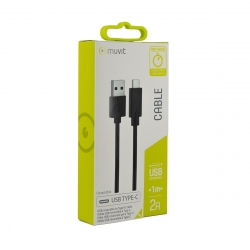 muvit cable USB-Tipo C 2A reversible 1m negro