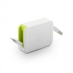muvit cable USB-Lightning MFI 2.4A retráctil hasta 0.8m blanco/verde