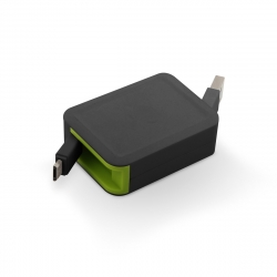 muvit cable USB-Micro USB 2.4A retráctil hasta 0.8m negro/verde