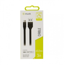 muvit cable USB-Tipo C 3A 0.2m negro