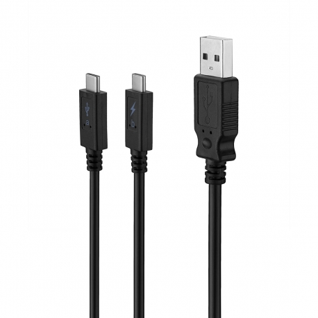 muvit cable USB-Doble Tipo C 3A 2m (1 carga + 1 carga/datos) negro