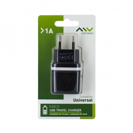 Myway transformador USB 1A negro
