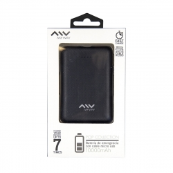 Myway power bank 10000 mAh USB 2 puertos 1A + 2.1A cable USB-Micro USB negra