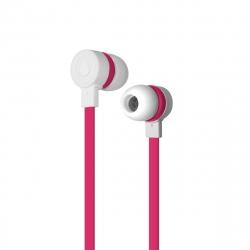 Puro auriculares estéreo con micrófono 3,5mm con cable plano rosa