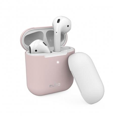 Puro funda silicona Apple Airpods rosa + tapa adicional blanca