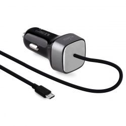 Puro cargador coche Micro USB 2A Qualcom 3.0 1.5m negro