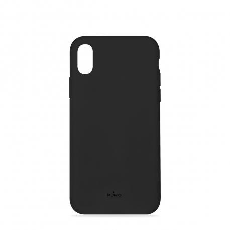 Puro funda silicona con microfibra Apple iPhone XS Max icon negra