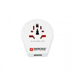 Skross adaptador viaje universal USB 2.1A blanco
