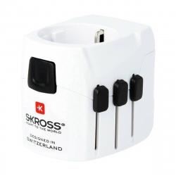 Skross adaptador viaje universal + USB 2 puertos 2.4A blanco