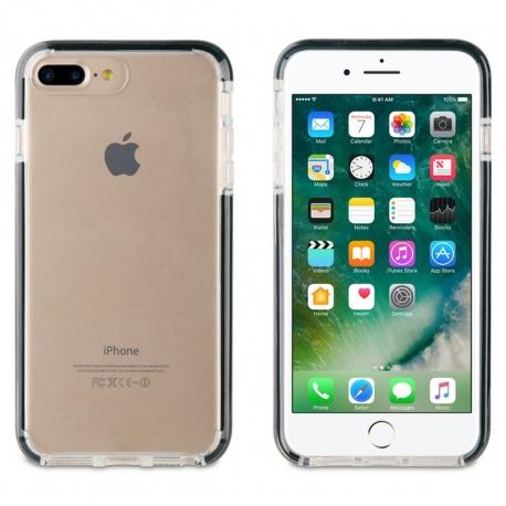 muvit Tiger funda Soft Apple iPhone 8/7 Plus shockproof 2M transparente + borde negro