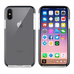 muvit Tiger funda Soft Apple iPhone Xs/X shockproof 2m transparente + borde negro
