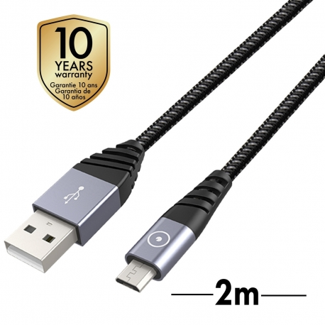 muvit Tiger cable USB Micro USB 2,4A 2m gris