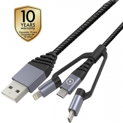 muvit Tiger cable USB Micro USB+ Lightning MFI+Type C 2.4A 1,2m gris