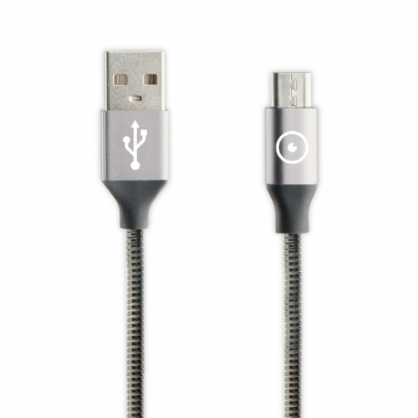 muvit Tiger cable USB a Micro USB metal flexible 2A 1.2m gris