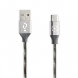 muvit Tiger cable USB a Tipo C metal flexible 3A 1.2m gris