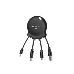 Xoopar Octopus Booster Adaptador USB multi conector con batería de emergencia de 1000 mAh integrada y botón selfie negro