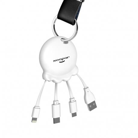 Xoopar Octopus Booster Adaptador USB multi conector con batería de emergencia 1000 mAh integrada y botón selfie blanco