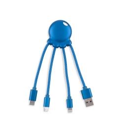 Xoopar Octopus Adaptador USB multi conector con orificio para llavero azul metalizado