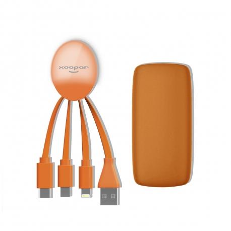 Xoopar Weekender Power Pack adaptador multi conector y batería de emergencia 5000 mAh naranja
