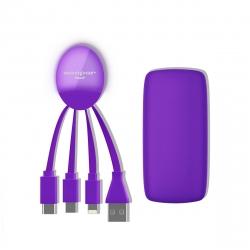Xoopar Weekender Power Pack adaptador multi conector y batería de emergencia 5000 mAh lila
