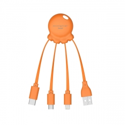 Xoopar Octopus Adaptador USB multi conector con orificio para llavero naranja