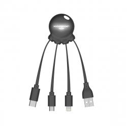 Xoopar Octopus Adaptador USB multi conector con orificio para llavero negro