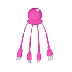 Xoopar Octopus Adaptador USB multi conector con orificio para llavero rosa