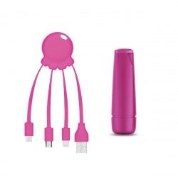 Xoopar After Work Power Pack adaptador multi conector + batería emergencia 2600 mAh rosa