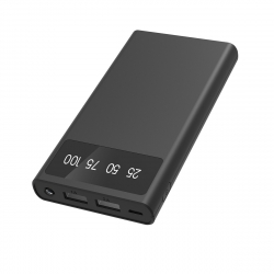Xipin power bank 10000 mAh USB 2 puertos 2A + cable micro USB negro