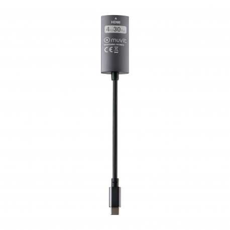 muvit connect adaptador Tipo C 3.0 a HDMI hembra 0,2m negro y gris